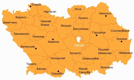 Пенза на карте