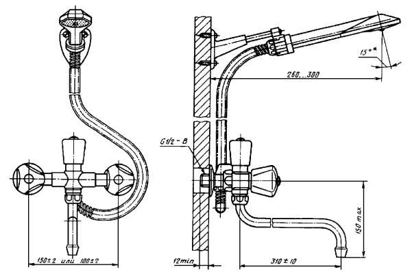 Смеситель общий для ванны и умывальника двухрукояточный с подводками в раздельных отверстиях настенный с душевой сеткой на гибком шланге, излив с развальцованным носиком. Тип См-ВУДРНШлр