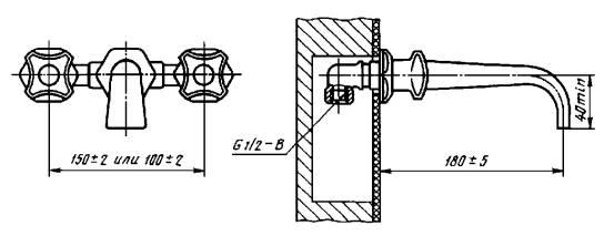 Смеситель для ванны двухрукояточный с подводками в раздельных отверстиях застенный. Тип См-ВДРЗ