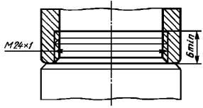 Размеры резьбы узла присоединения аэратора к изливам с внутренней резьбой