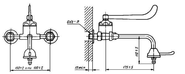 Смеситель для умывальника однорукояточный локтевой с подводками в раздельных отверстиях настенный. Тип См-УмОЛРН