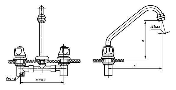 Смеситель для умывальника и мойки двухрукояточный с подводками в раздельных отверстиях набортный, излив с аэратором. Типы См-УмДРБА, См-МДРБА