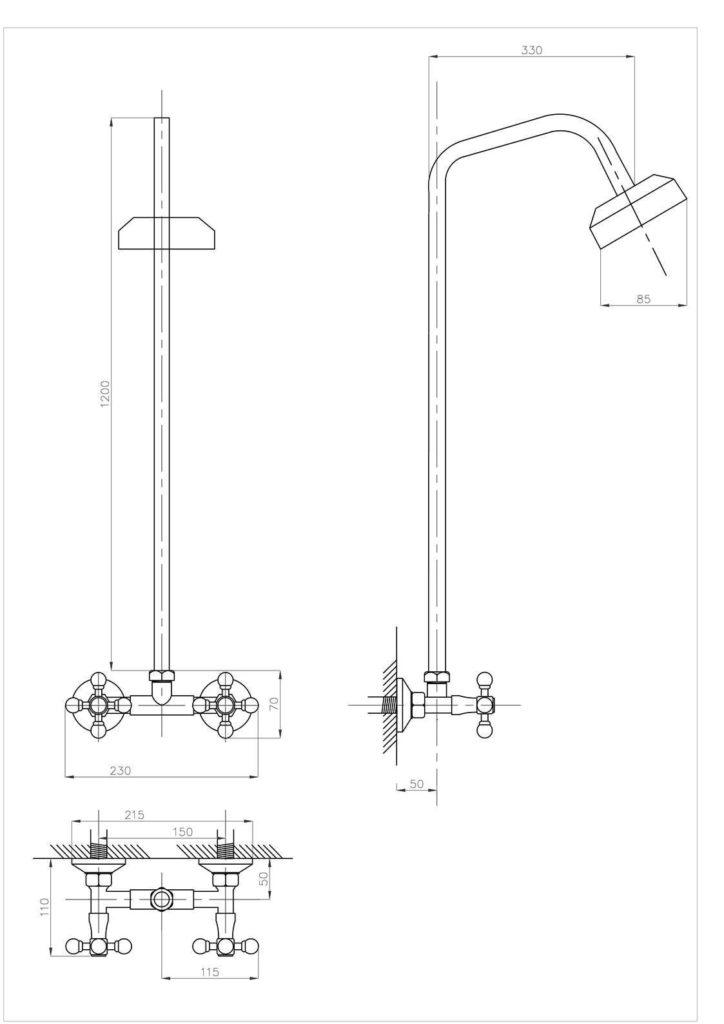 Схема душевой стойки ПРОФСАН ПСМ-110-К89 ДУШ