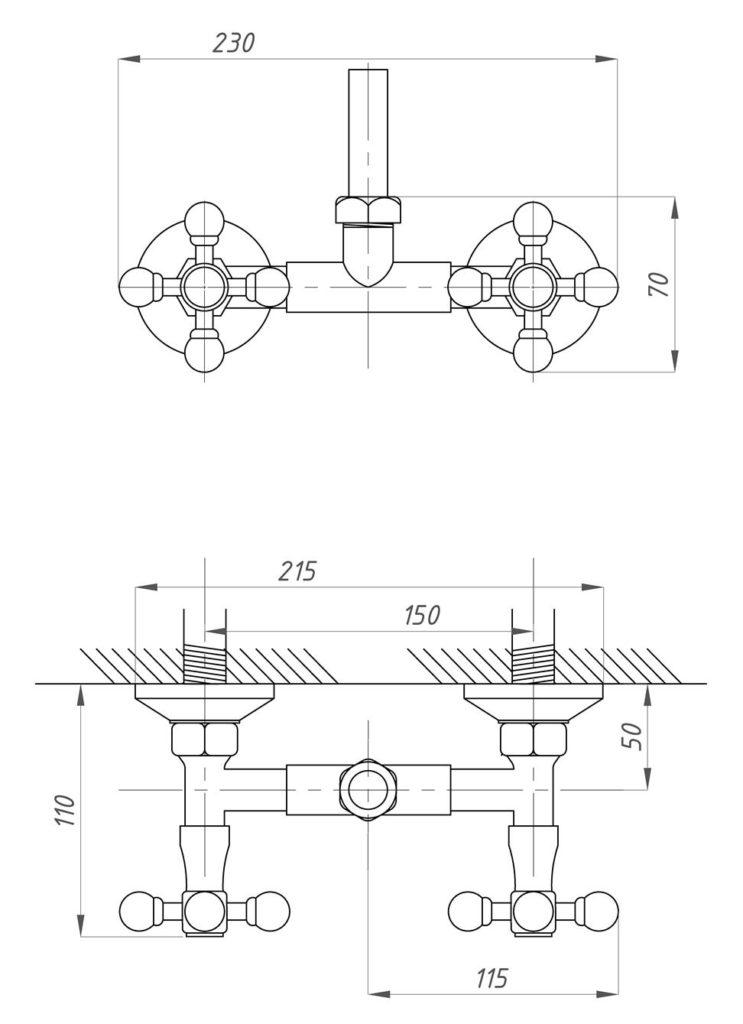 Схема стойки для душа Профсан ПСМ 110-К/89