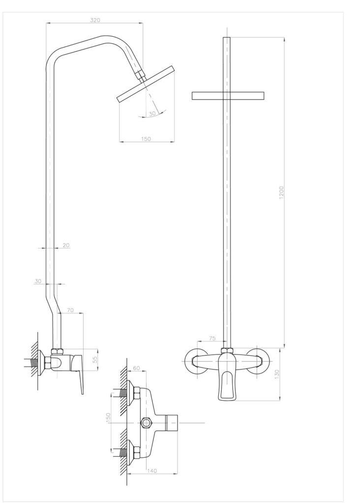 Схема душевой стойки ПРОФСАН ПСМ-514-017 ДУШ