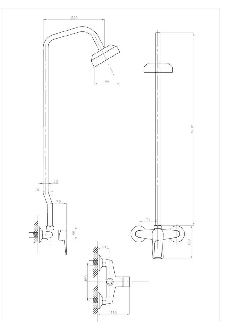 Схема смесителя для душа со стационарной стойкой ПРОФСАН ПСМ-510-017 ДУШ