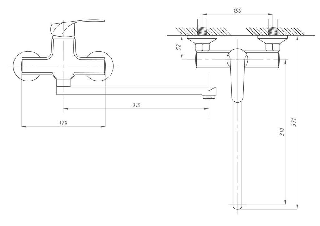 Схема смесителя для ванны с душем ПРОФСАН ПСМ-777-037 МОДЕРН