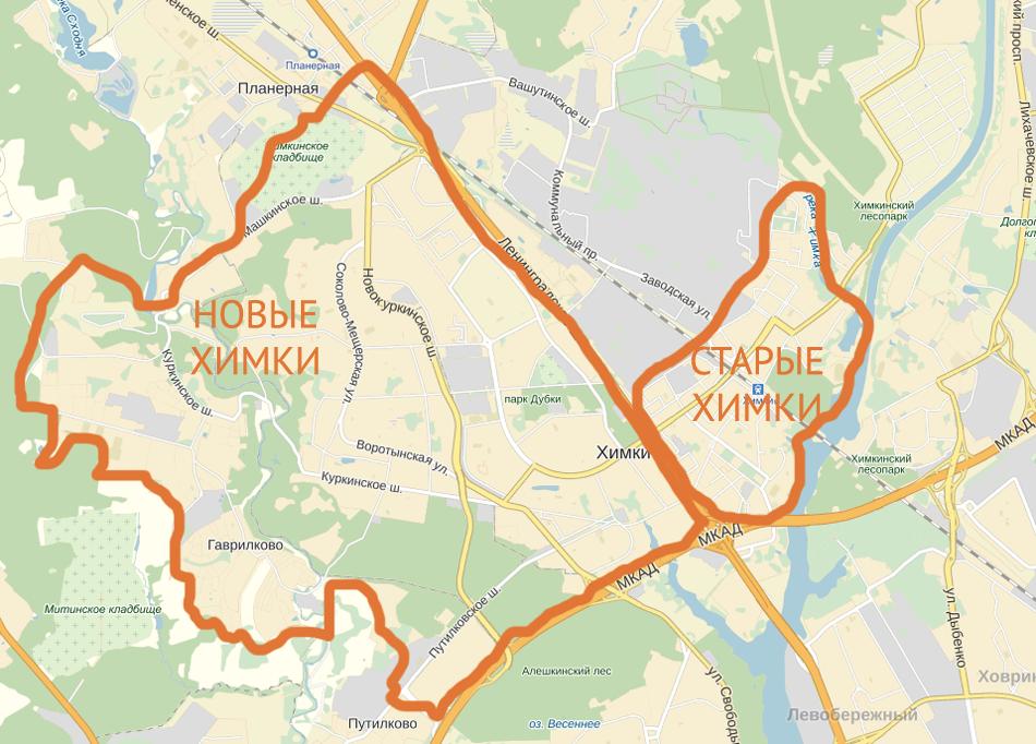 Химки на карте