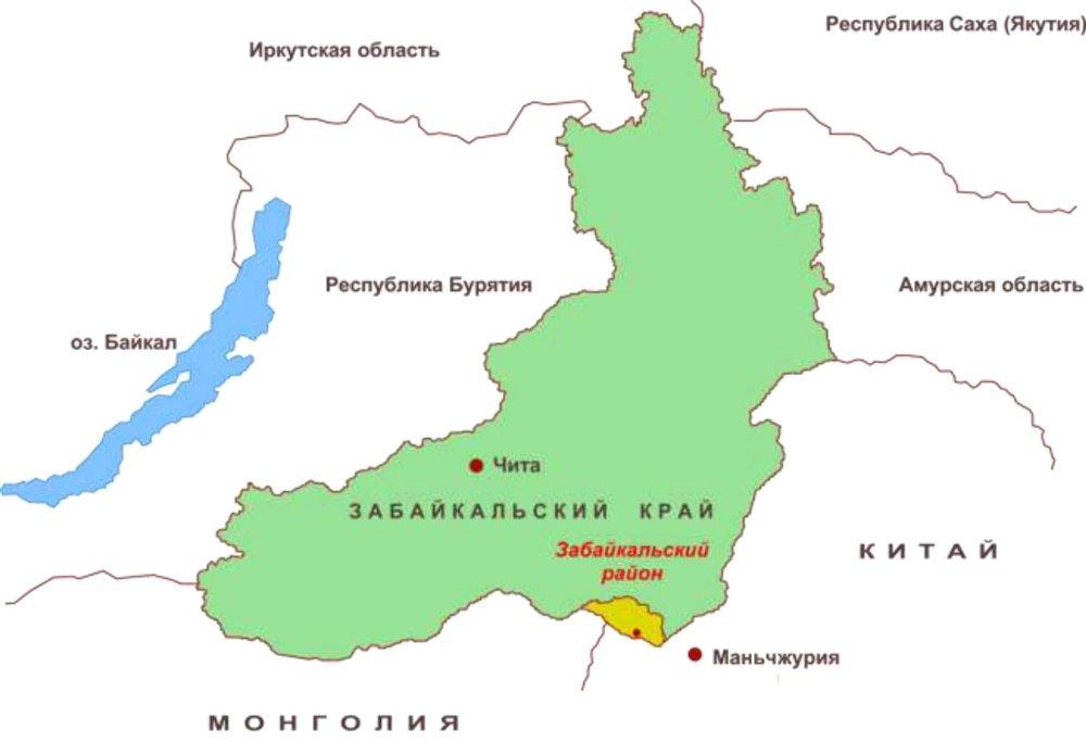 Чита на карте Забайкальского края