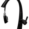 Выдвижной излив смесителя для кухни ПРОФСАН ПСМ-301-9 STEEL BLACK нерж. сталь с опущенной ручкой
