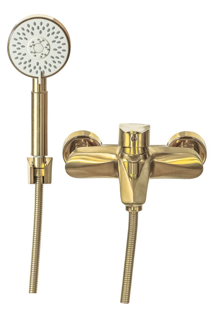 Лейка и корпус смесителя для ванной с коротким изливом Профсан ЗОЛОТО ПСМ-303-1 STEEL GOLD