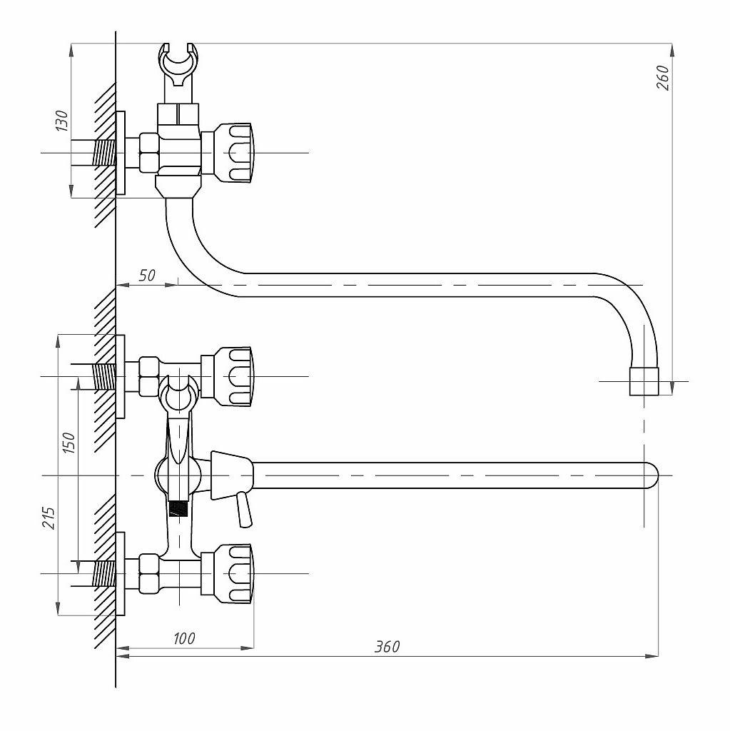 Схема двухвентильного смесителя ванно-душевого ПСМ ПрофСан 156-К/77