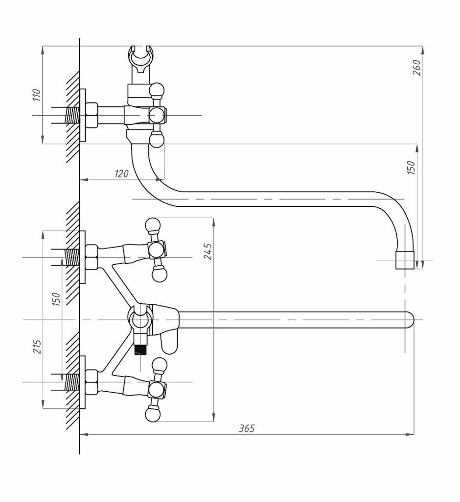 Схема двухвентильного смесителя для ванной Профсан ПСМ 160-К/89