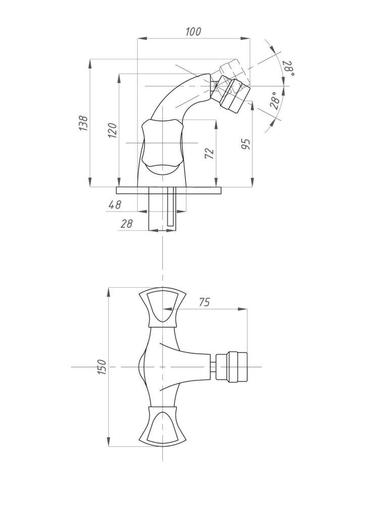 Схема смесителя для раковины Профсан ПСМ КВАДРО 930-К/38