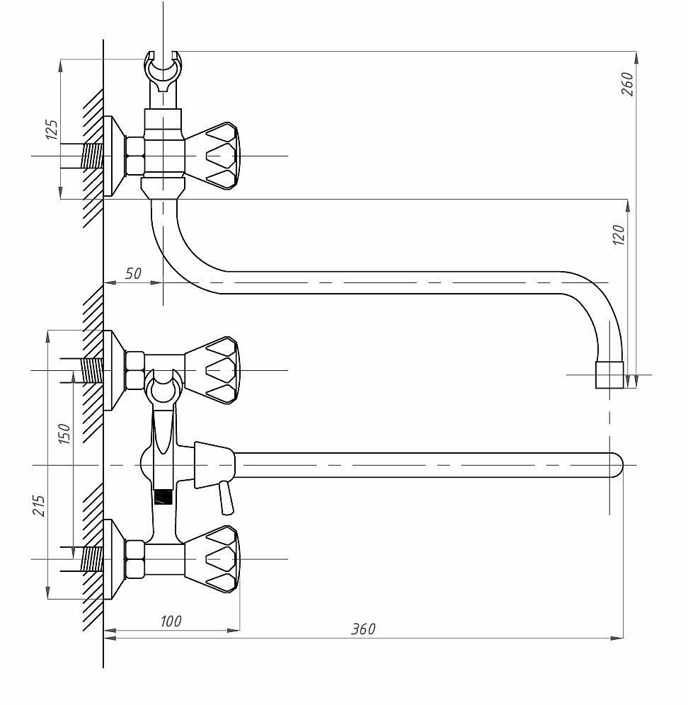 Схема ванно-душевого двухвентильного смесителя ПСМ ПрофСан 157-K/04