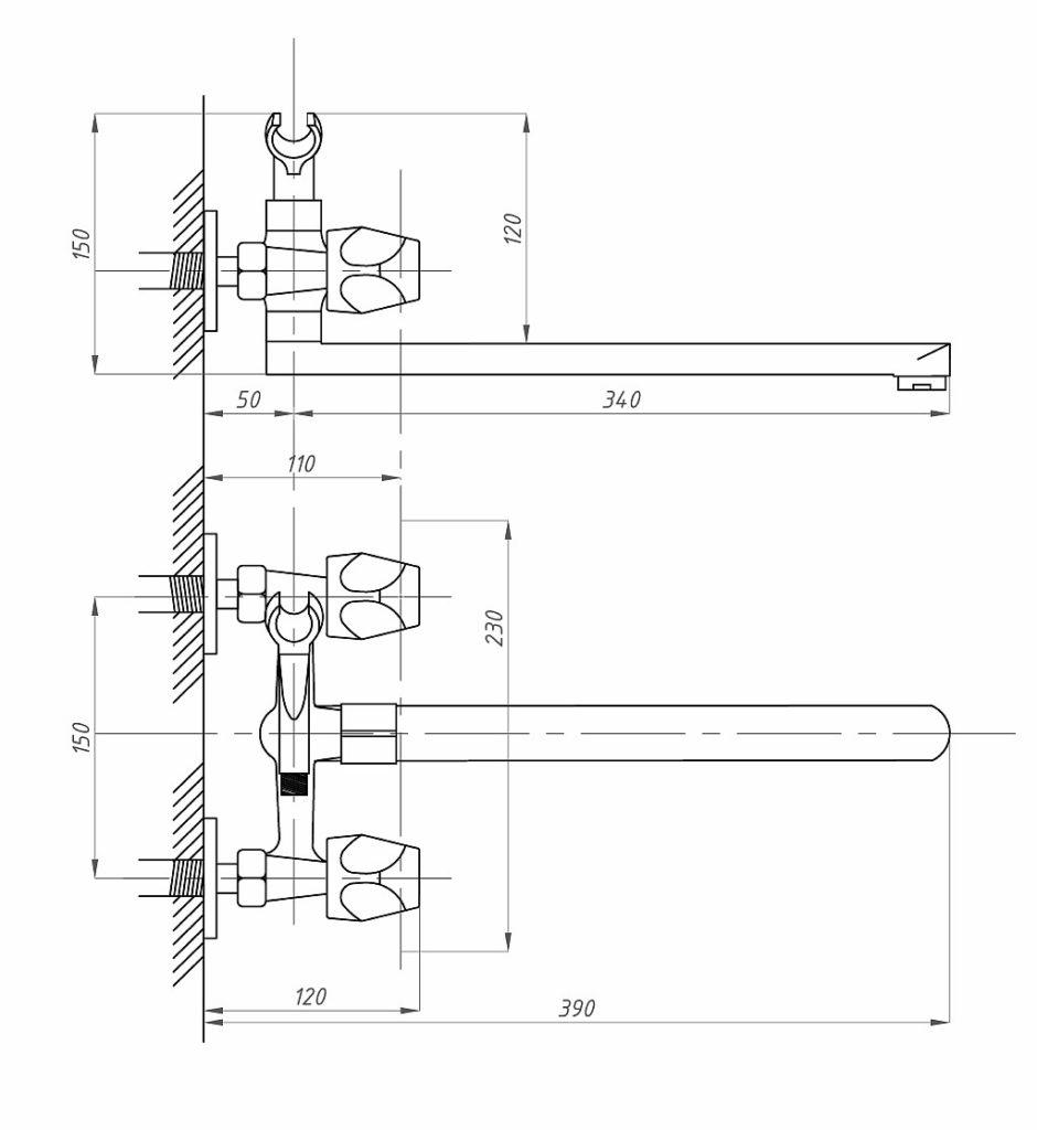 Схема смесителя для ванной Профсан ПСМ 159 ЕК/48 с массажной лейкой