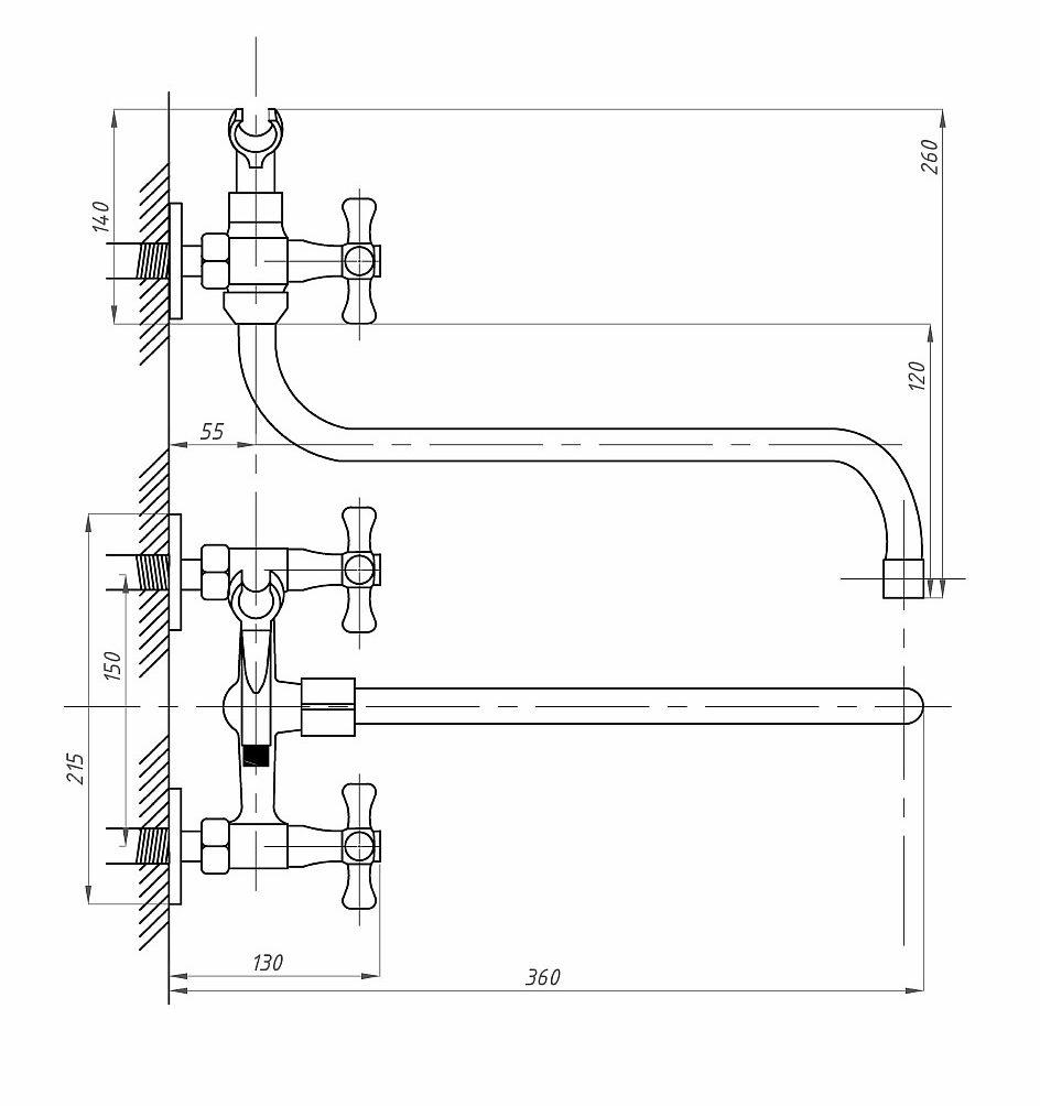 Схема смесителя для ванной с душем Профсан ПСМ 158-ЕК/75