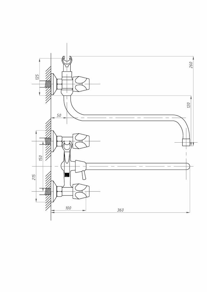 Схема смесителя для ванны с душем ПрофСан ПСМ 157-ЕК/48