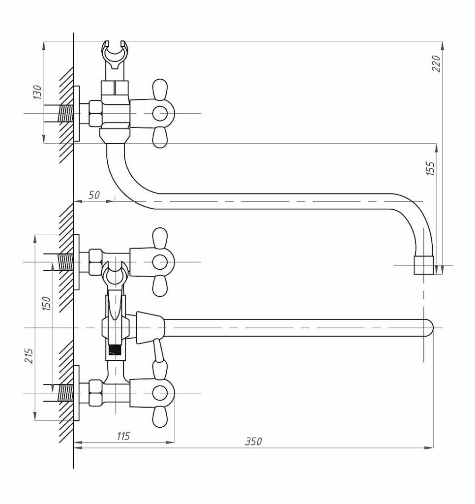 Схема смесителя ванно-душевого двухвентильного ПСМ ПрофСан 150-K/99