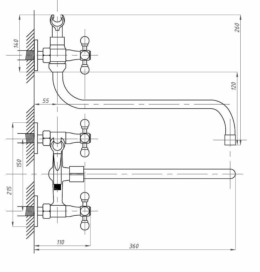 Схема смесителя для ванной комнаты ПрофСан ПСМ 158-К/89