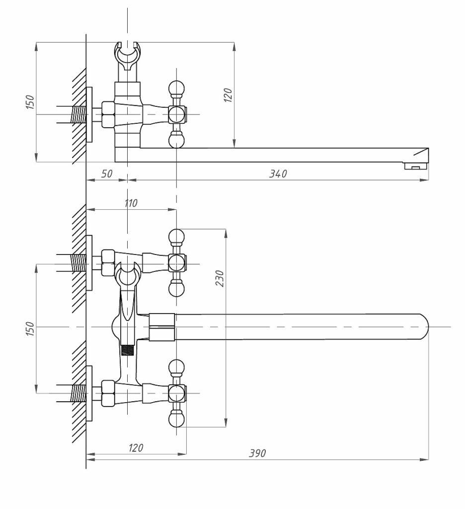 Схема смесителя для ванной комнаты ПрофСан ПСМ 159-К/89