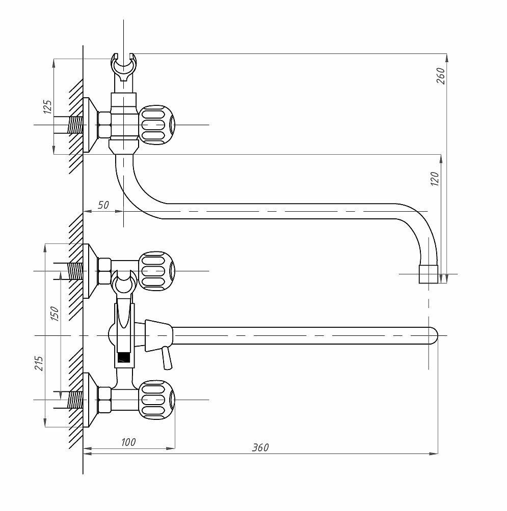 Схема смесителя для ванной с душем двухвентильного ПСМ ПрофСан 165-К/30