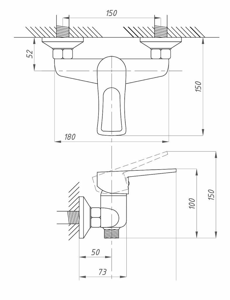 Схема смесителя для душа с лейкой и шлангом Профсан ПСМ 509-КТ/017