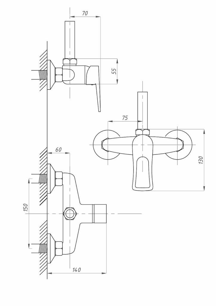 Схема смесителя для душа со стационарной стойкой Профсан ПСМ-510-КТ/017 (однорычажного)