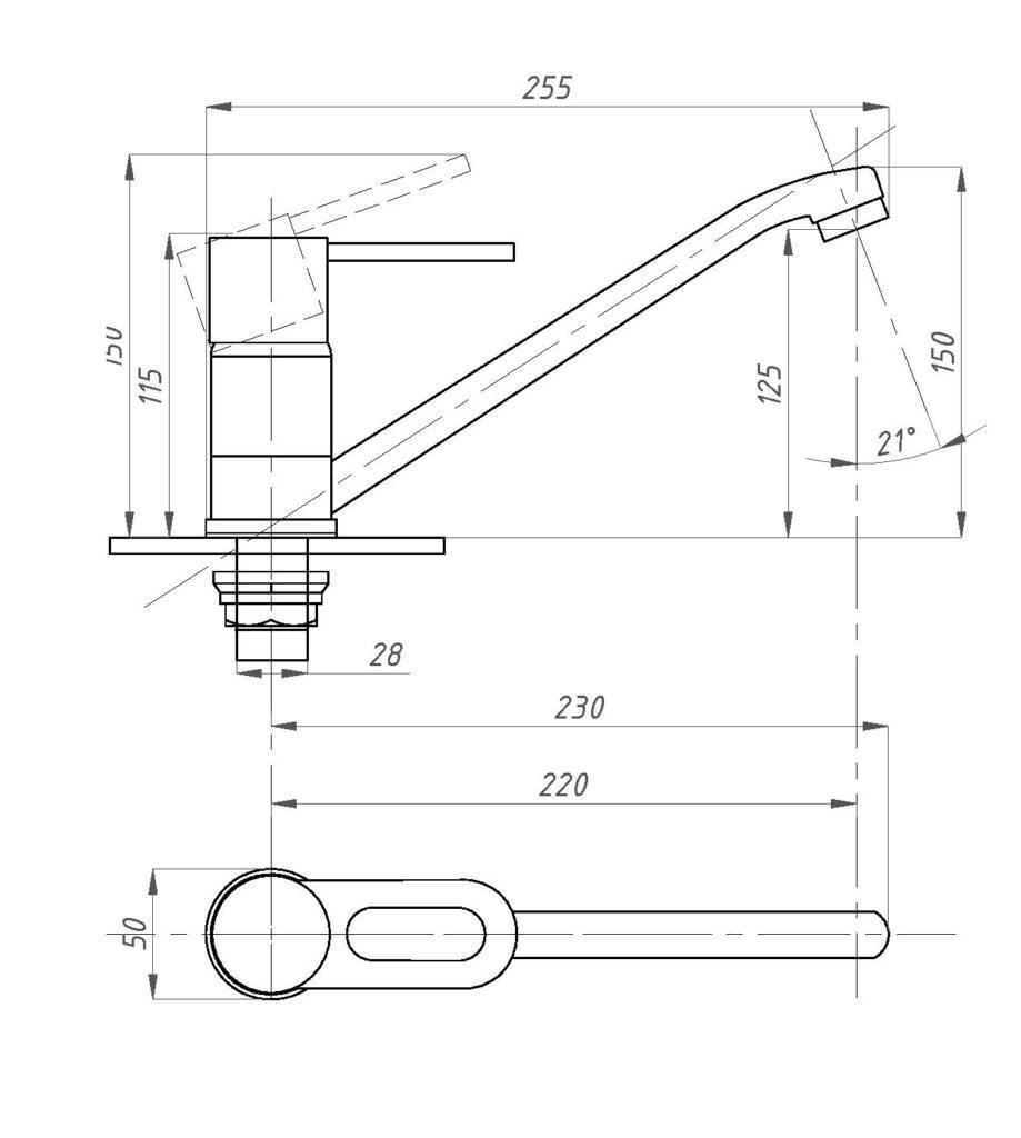 Схема смесителя для кухни Профсан ПСМ 425-КТ/008 (однорычажного)