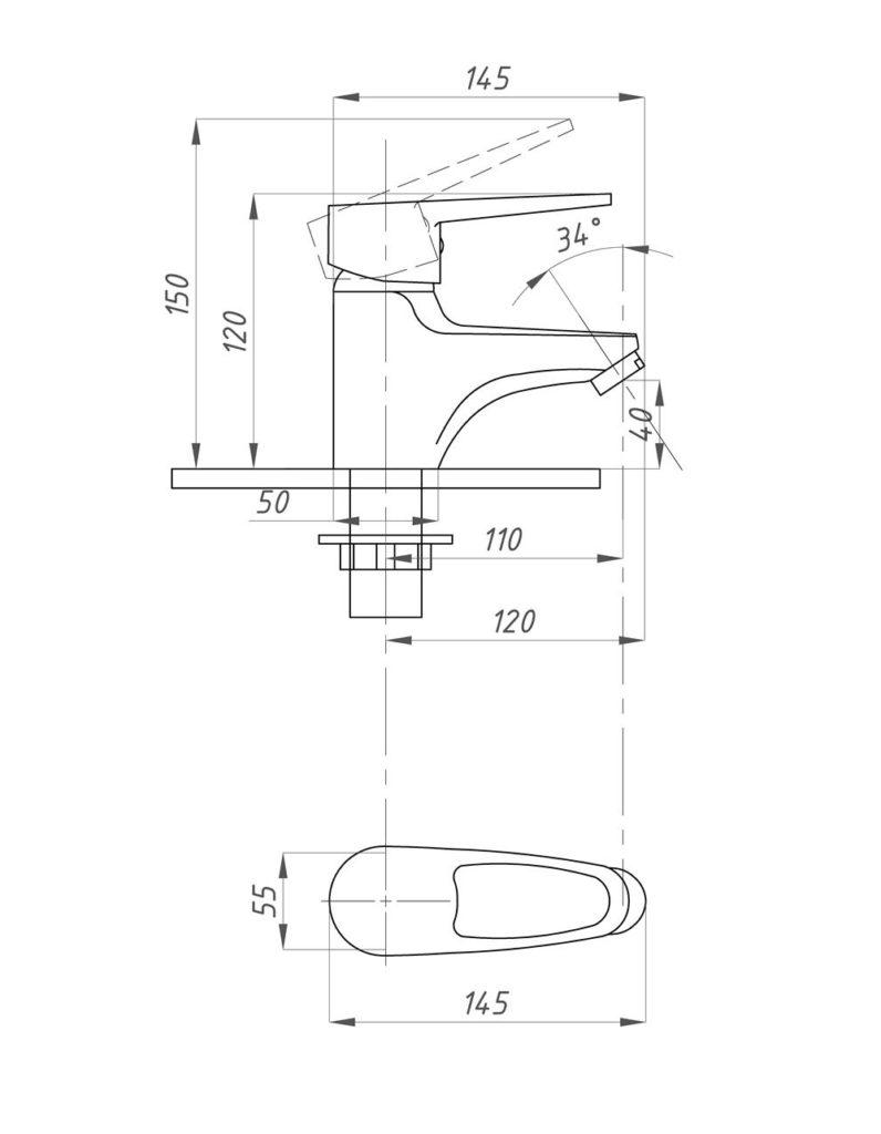 Смеситель для раковины Профсан ПСМ 740 К/084 (Тюльпан)