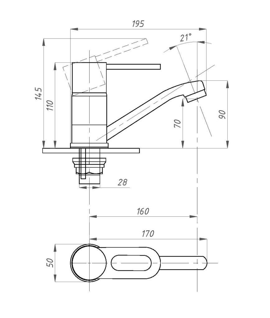 Схема смесителя для раковины Профсан ПСМ 215-К/008 (монокомандного)