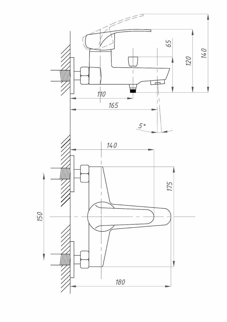 Схема смесителя для ванной комнаты с коротким носом ПрофСан PROF ECO 837 КТ/037