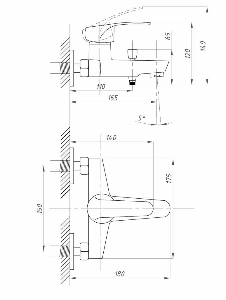 Схема смесителя для ванной комнаты ПрофСан PROF ECO 837 КТ/037