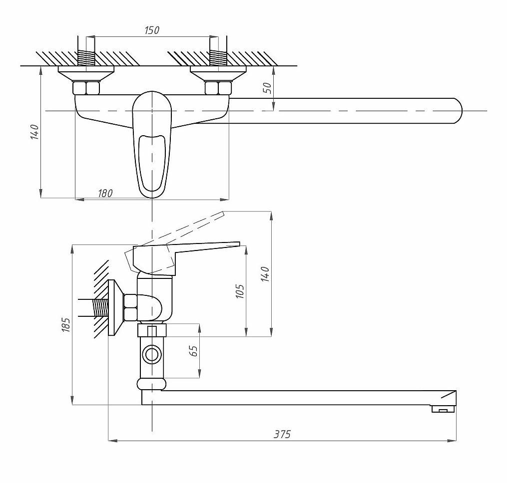 Схема смесителя для ванной с душем Профсан ПСМ-523-ЕКТ/084 (монокомандного)