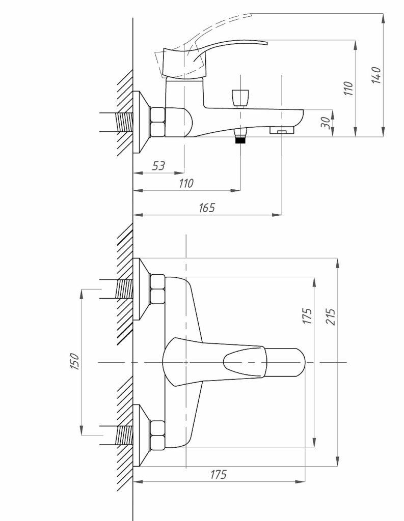 Схема смесителя для ванной Профсан ПСМ 815 КТ/023