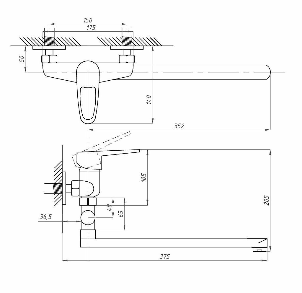Схема смесителя для ванны с душем Профсан ПСМ 521-ЕКТ/084