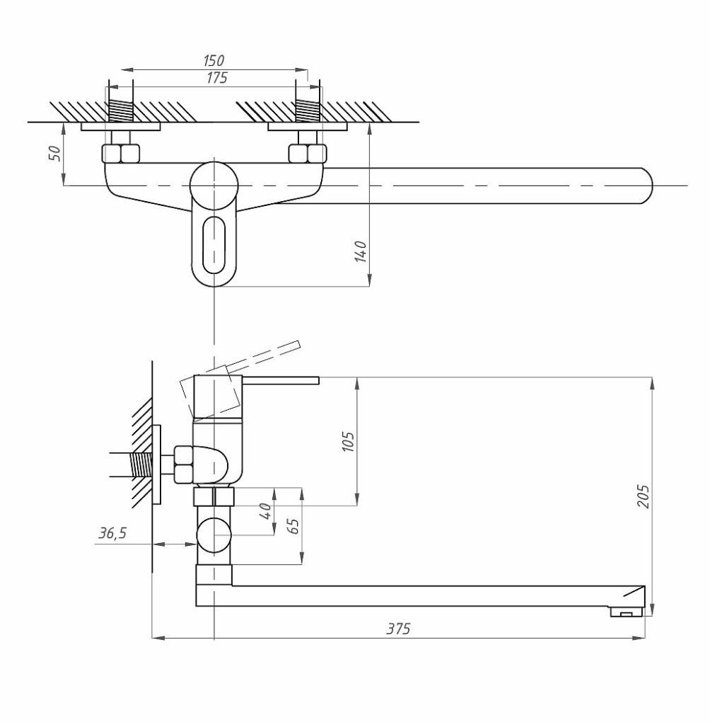 Схема смесителя для ванной комнаты Профсан ПСМ 521-К/008