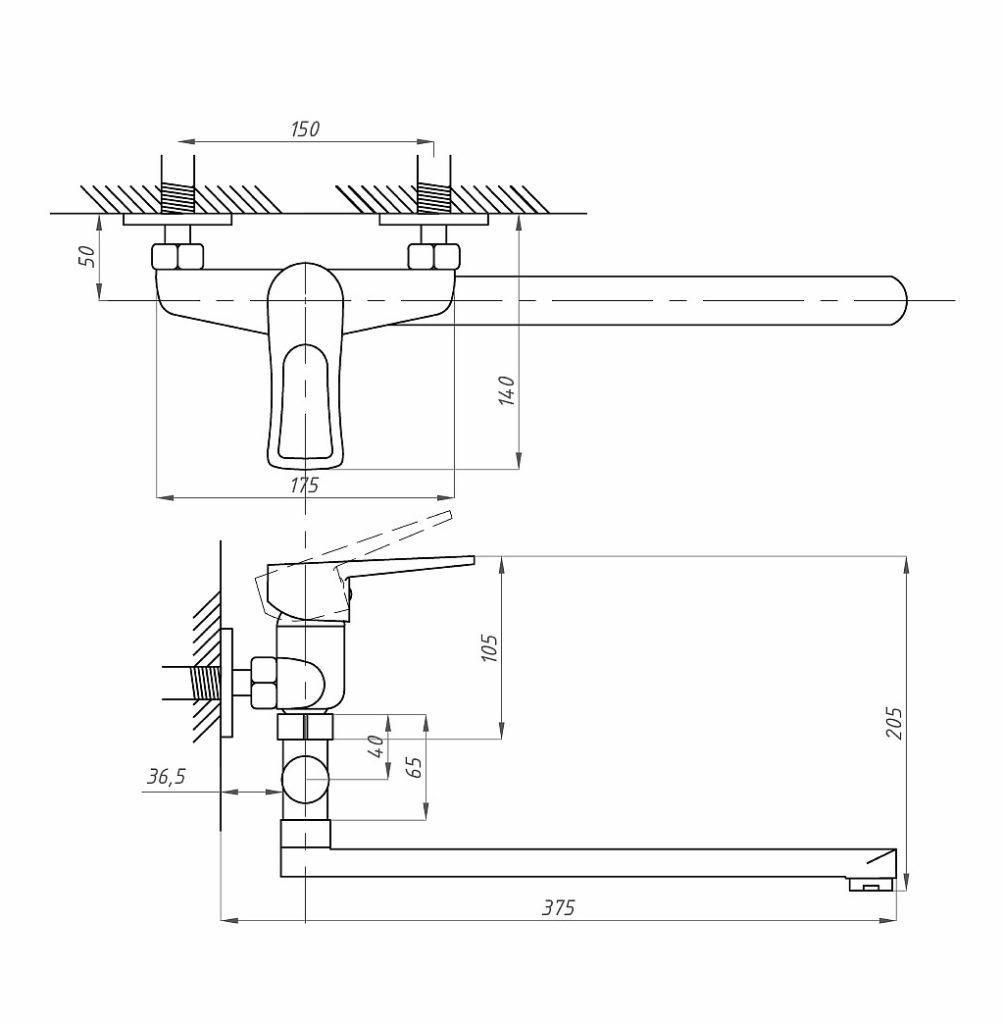 Схема смесителя для ванной комнаты Профсан ПСМ 521-К/017