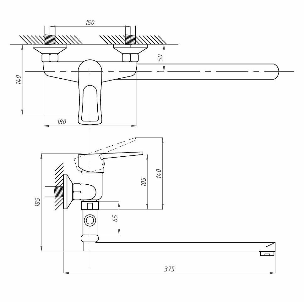 Схема смесителя для ванной ПрофСан ПСМ-523-017 (однорычажного)