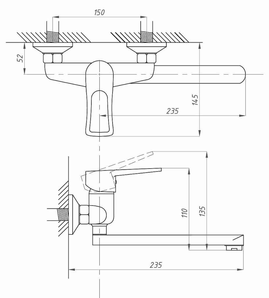 Схема смесителя для раковины ПрофСан ПСМ 508-КТ/017