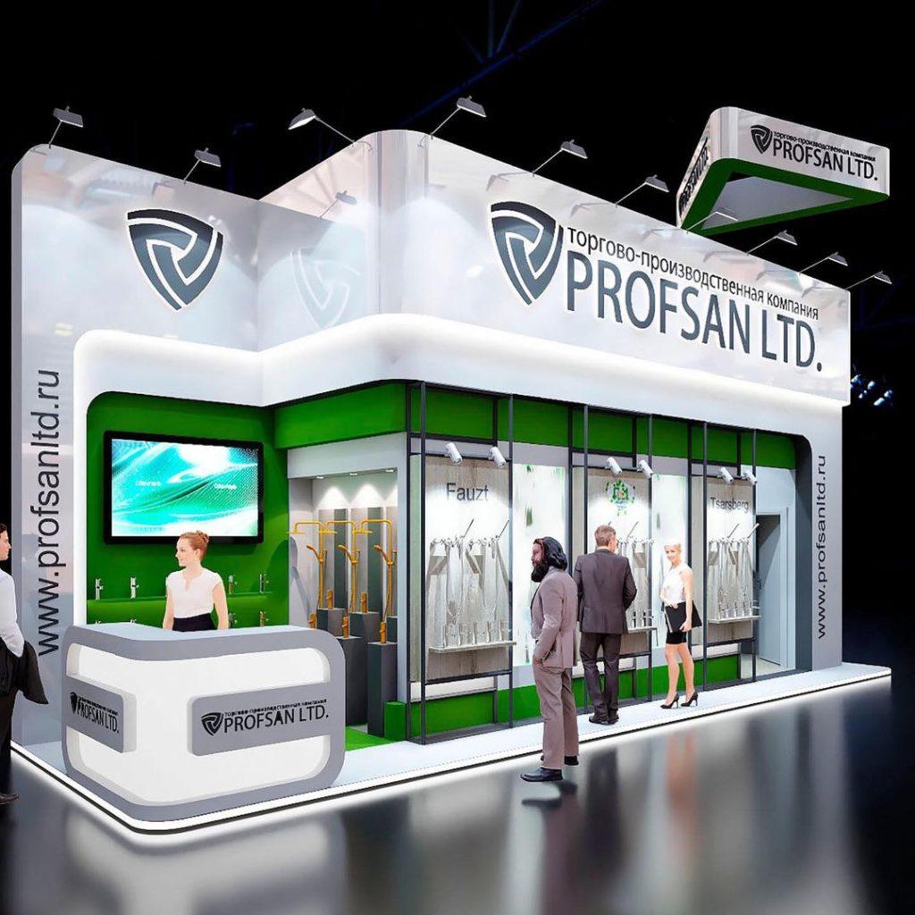Стенд Профсан на выставке Mosbuild 2021 общий вид с посетителями