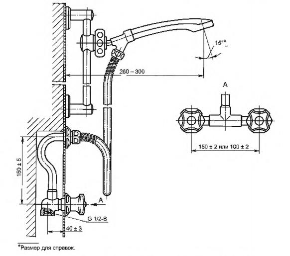 Рисунок 17 — Смеситель для душа двухрукояточный с подводками в раздельных отверстиях застенный с душевой сеткой на штанге. Тип См-ДшДРЗШт