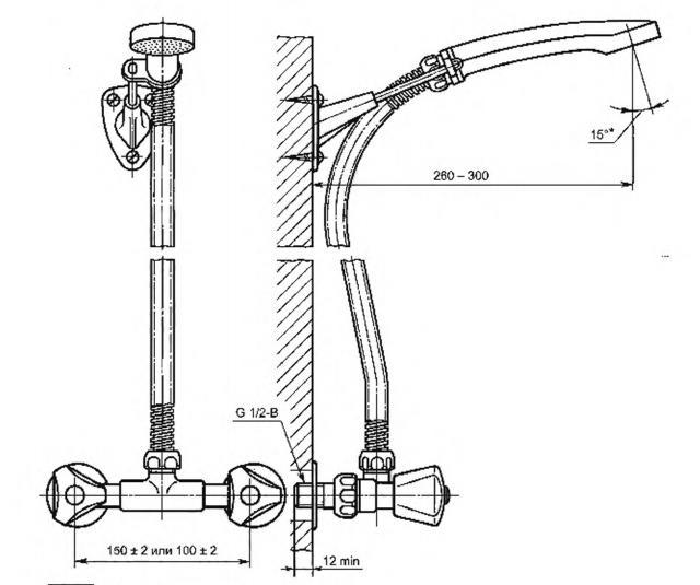 Рисунок 18 — Смеситель для душа двухрукояточный с подводками в раздельных отверстиях настенный с душевой сеткой на гибком шланге. Тип См-ДшДРНШл