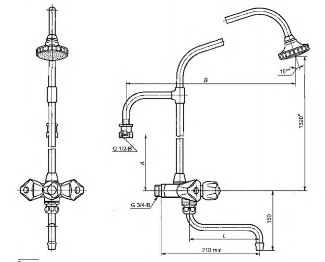 Рисунок 20 — Смеситель для водогрейной колонки двухрукояточный настенный с душевой сеткой на стационарной трубке. Тип См-КДНТр