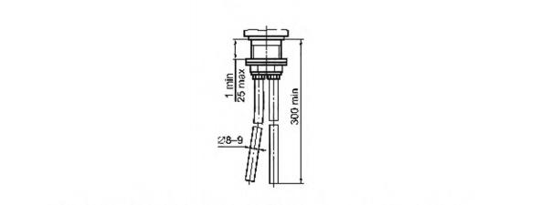 Рисунок 22 — Основные размеры гибких медных подводок для присоединения центральных набортных смесителей к сетям холодной и горячей воды