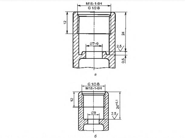 Рисунок 24 — Основные размеры седла клапана и резьб для присоединения вентильных головок