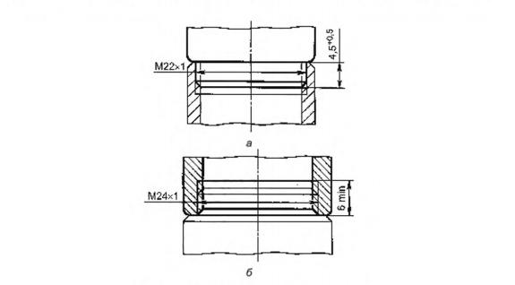 Рисунок 25 — Размеры резьбы узла присоединения аэратора к изливам