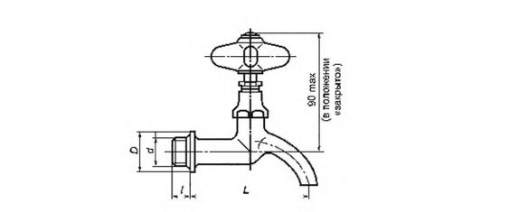 Рисунок 27 — Кран водоразборный настенный. Тип КрН