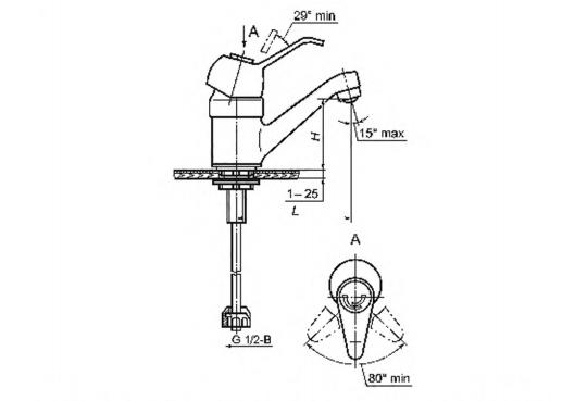 Рисунок 7 — Смеситель для умывальника и мойки однорукояточный центральный набортный, излив с аэратором. Типы См-УмОЦБА, См-МОЦБА