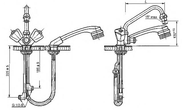 Рисунок 8 — Смеситель для мойки двухрукояточный центральный набортный со щеткой с набортным креплением, излив с аэратором. Тип См-МДЦБЩбА